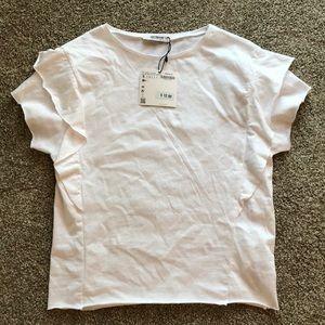 Zara White Ruffle T Shirt